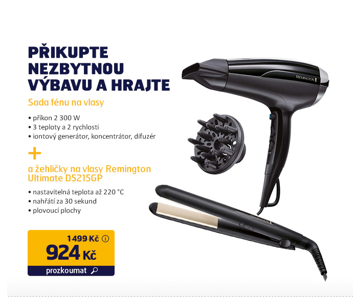Sada fénu a žehličky na vlasy Remington Ultimate D5215GP