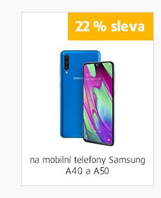 22% sleva na mobilní telefony SAMSUNG A40 a A50