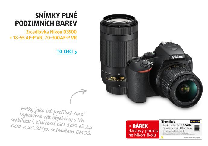 Zrcadlovka Nikon D3500 + 18-55 AF-P VR, 70-300AF-P VR
