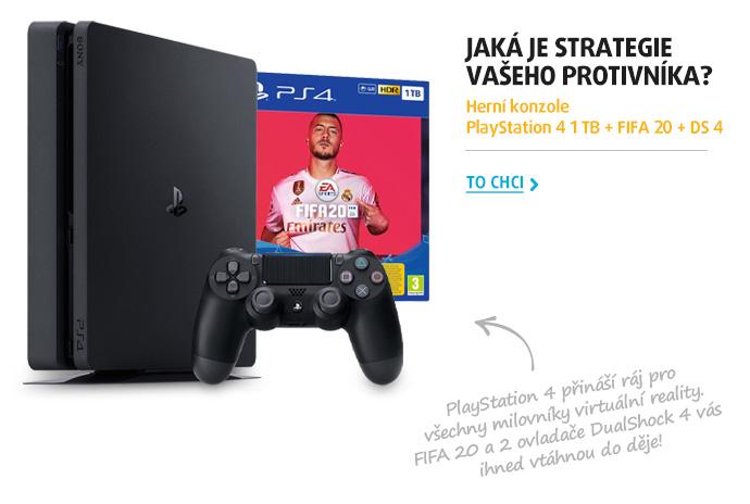 Herní konzole PlayStation 4 1 TB + FIFA 20 + DS 4