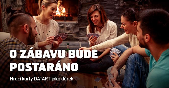 O ZÁBAVU BUDE POSTARÁNO Hrací karty DATART jako dárek