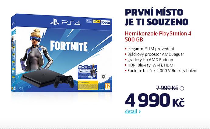 Herní konzole PlayStation 4 500 GB + Fortnite balíček 2000 V Bucks