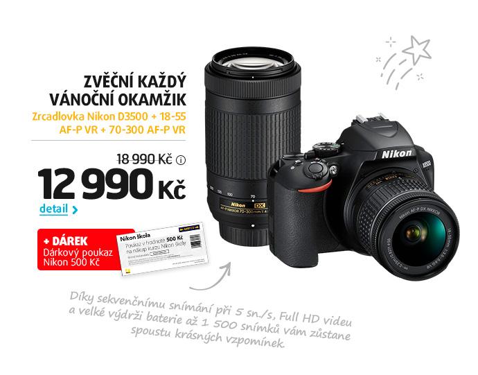 Zrcadlovka Nikon D3500 + 18-55 AF-P VR + 70-300 AF-P VR