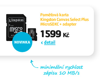 Paměťová karta Kingston Canvas Select Plus MicroSDXC + adapter