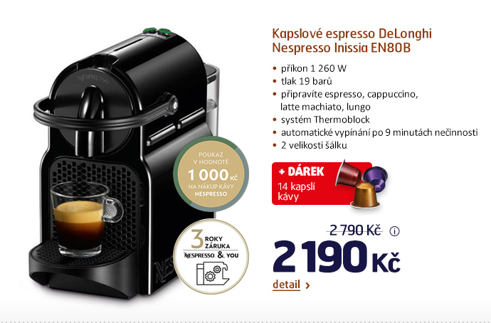 Kapslové espresso DeLonghi Nespresso Inissia EN80B