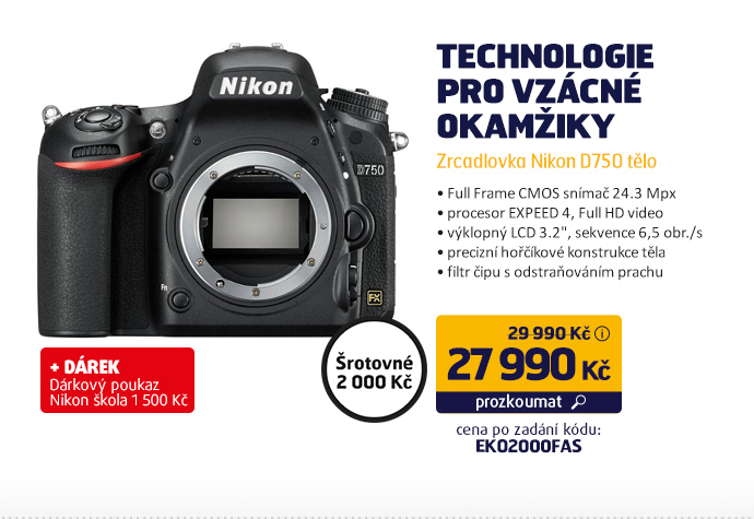 Zrcadlovka Nikon D750 tělo