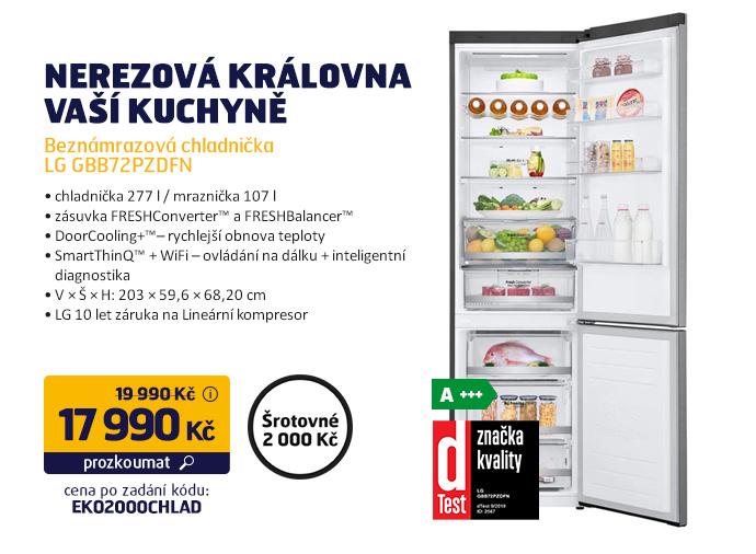 Beznámrazová chladnička LG GBB72PZDFN