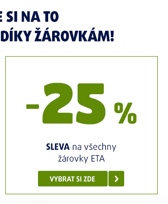 Sleva 25 % na všechny žárovky ETA