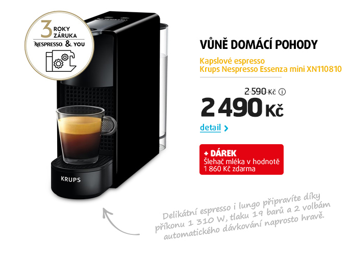 Kapslové espresso Krups Nespresso Essenza mini XN110810