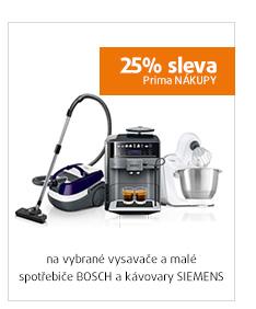 25% sleva na vybrané vysavače a malé spotřebiče BOSCH a kávovary SIEMENS
