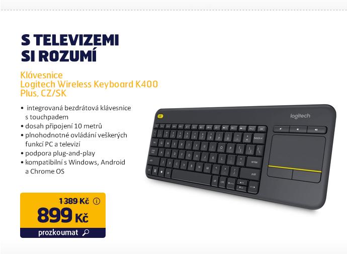 Klávesnice Logitech Wireless Keyboard K400 Plus, CZ/SK
