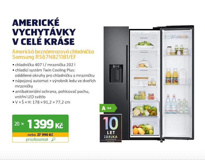 Americká beznámrazová chladnička Samsung RS67N8211B1/EF