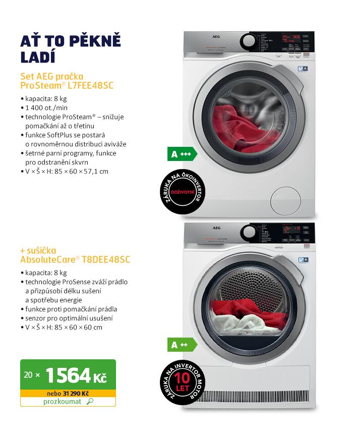 Set AEG pračka ProSteam® L7FEE48SC+ sušička AbsoluteCare® T8DEE48SC