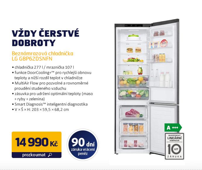 Beznámrazová chladnička LG GBP62DSNFN