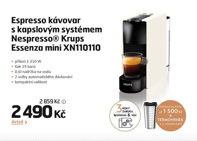 Espresso kávovar s kapslovým systémem  Nespresso® Krups Essenza mini XN110110