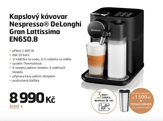 Kapslový kávovar Nespresso® DeLonghi Gran Lattissima EN650.B