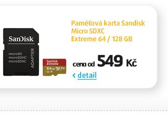 Paměťová karta Sandisk Micro SDXC Extreme 64 / 128 GB