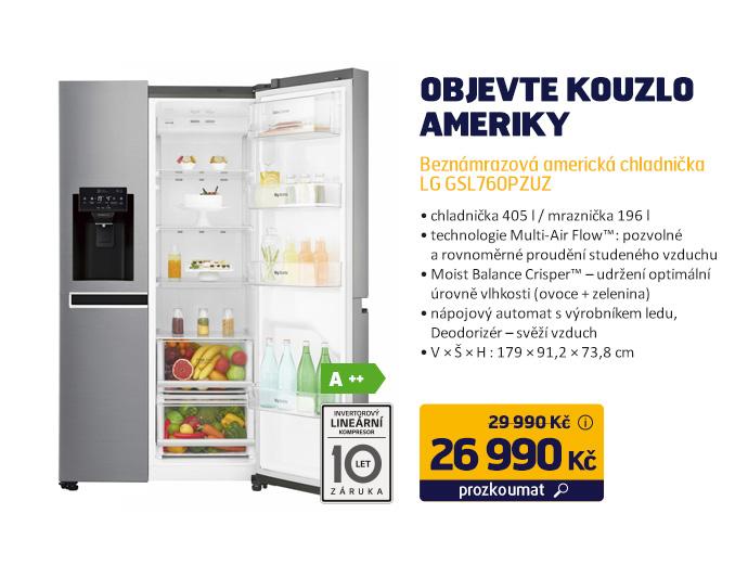 Beznámrazová americká chladnička LG GSL760PZUZ