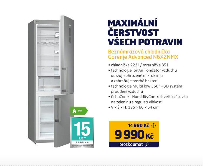 Beznámrazová chladnička Gorenje Advanced N6X2NMX