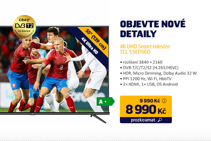 4K UHD Smart televize TCL 55EP660
