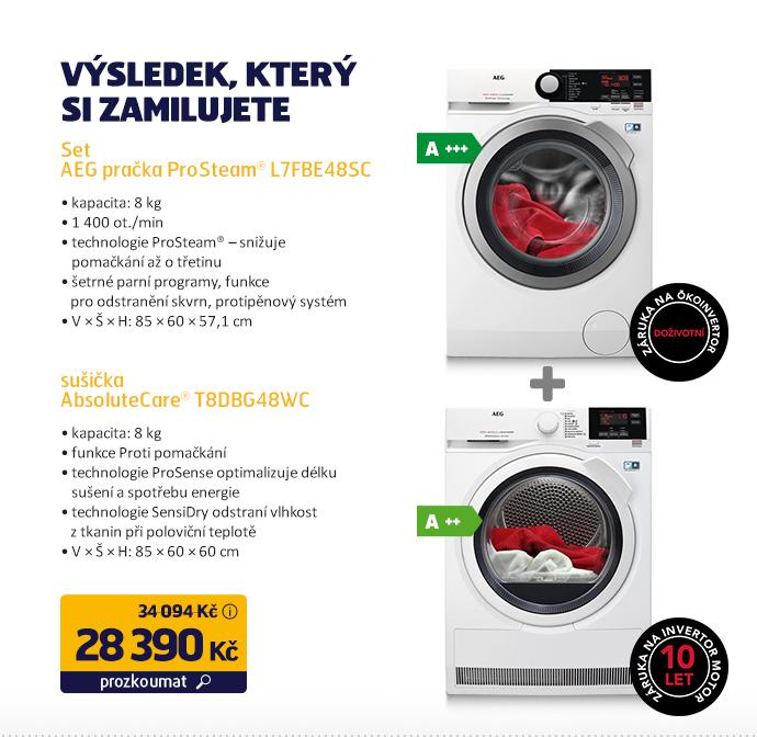 Set AEG pračka ProSteam® L7FBE48SC + sušička AbsoluteCare® T8DBG48WC