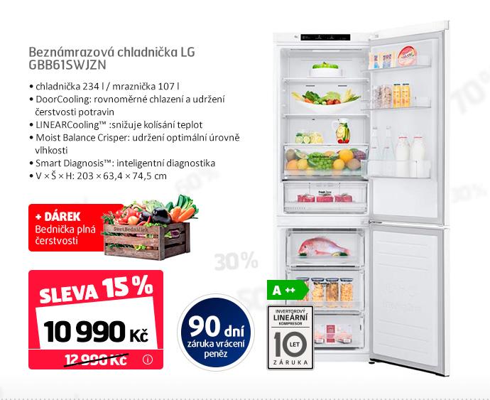 Beznámrazová chladnička LG GBB61SWJZN