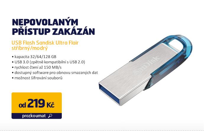 USB Flash Sandisk Ultra Flair stříbrný/modrý
