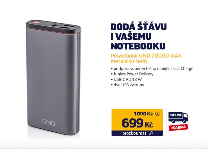 Powerbank GND 20000 mAh, metalická šedá