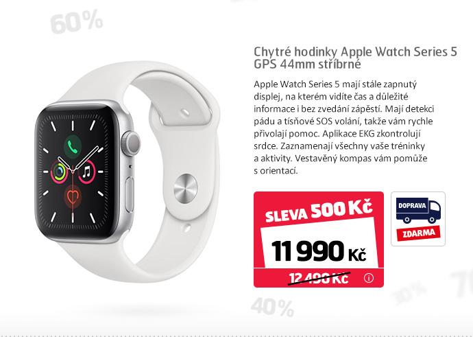 Chytré hodinky Apple Watch Series 5 GPS 44mm stříbrné