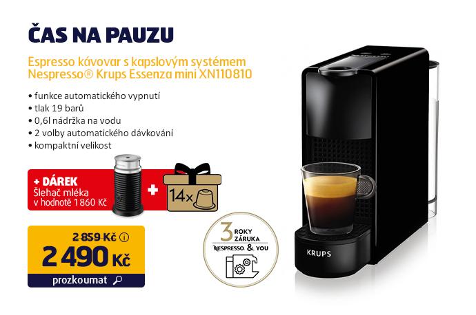 Espresso kávovar s kapslovým systémem  Nespresso® Krups Essenza mini XN110810