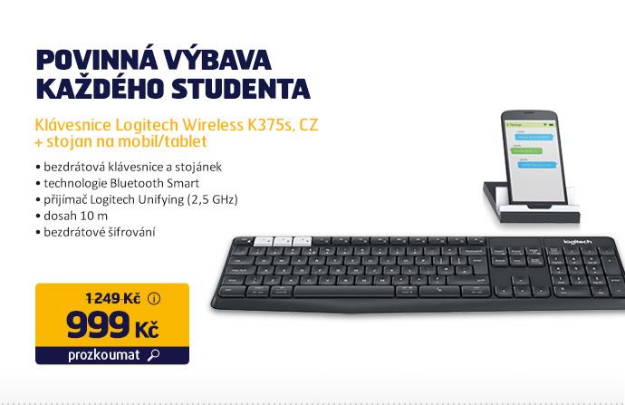 Klávesnice Logitech Wireless K375s, CZ + stojan na mobil/tablet