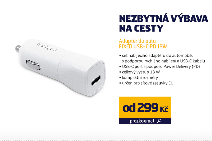 Adaptér do auta FIXED USB-C PD 18W