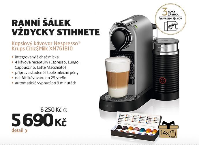 Kapslový kávovar Nespresso® Krups Citiz&Milk XN761B10