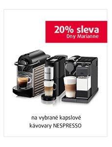 20% sleva na vybrané kapslové kávovary NESPRESSO