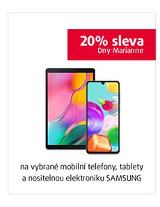 20% sleva na vybrané mobilní telefony, tablety a nositelku SAMSUNG