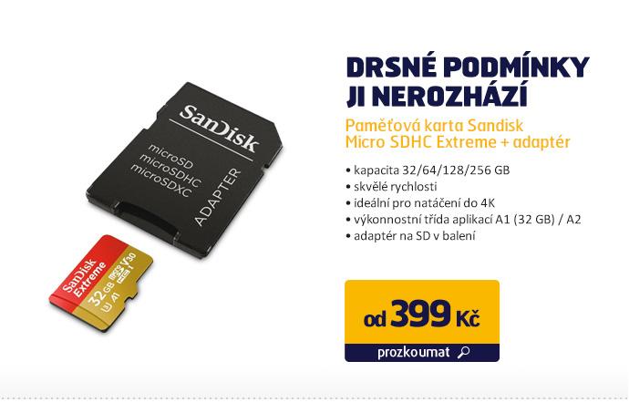 Paměťová karta Sandisk Micro SDHC Extreme + adaptér