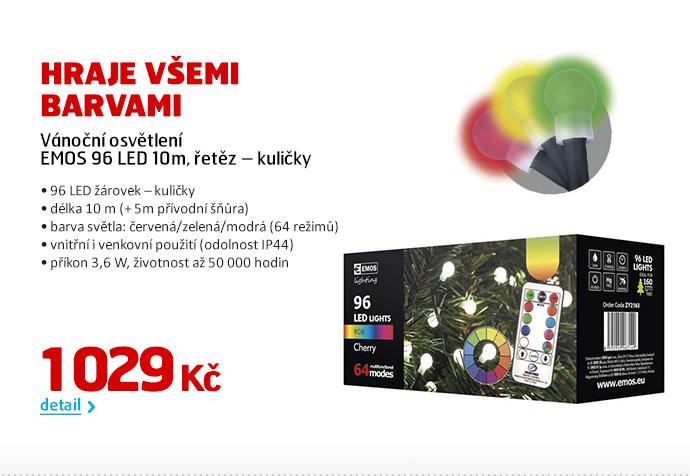 Vánoční osvětlení EMOS 96 LED 10m, řetěz – kuličky