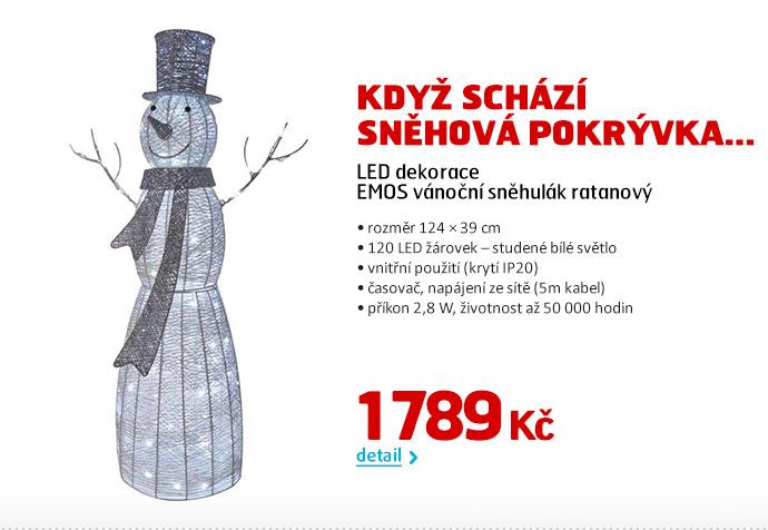 LED dekorace EMOS vánoční sněhulák ratanový