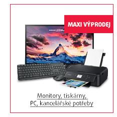 Monitory, tiskárny, PC, kancelářské potřeby