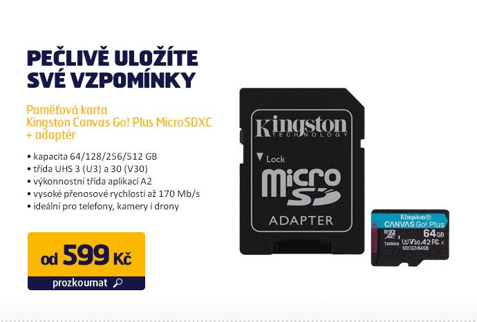 Paměťová karta Kingston Canvas Go! Plus MicroSDXC + adaptér