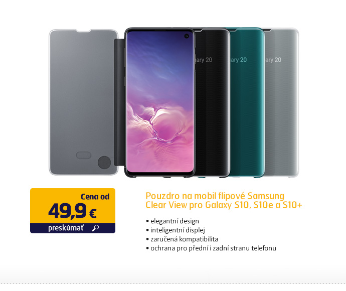 Puzdro na mobil flipové Samsung Clear View pro Galaxy S10, S10e, S10+