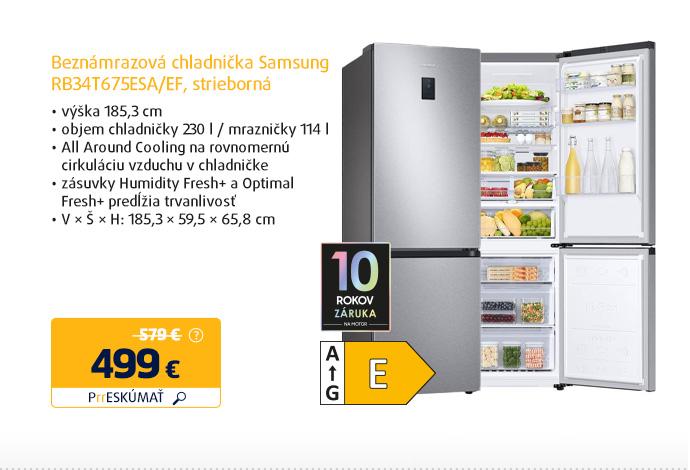 Beznámrazová chladnička Samsung RB34T675ESA/EF, strieborná