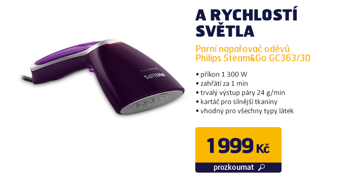 Parní napařovač oděvů Philips Steam&Go GC363/30