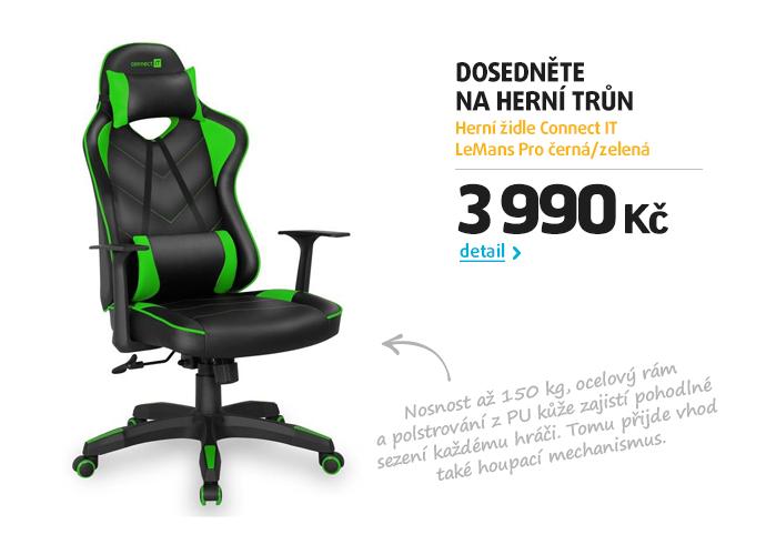 Herní židle Connect IT LeMans Pro černá/zelená
