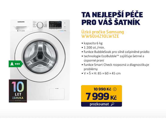 Úzká pračka Samsung WW60J4210LW1ZE
