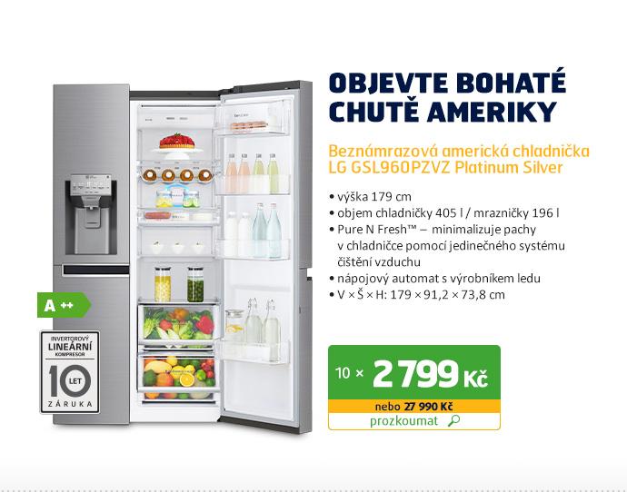 Beznámrazová americká chladnička LG GSL960PZVZ Platinum Silver