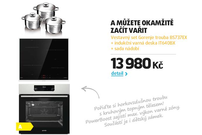Vestavný set Gorenje trouba BS737EX + indukční varná deska IT640BX + sada nádobí