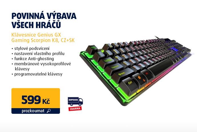 Klávesnice Genius GX Gaming Scorpion K8, CZ+SK