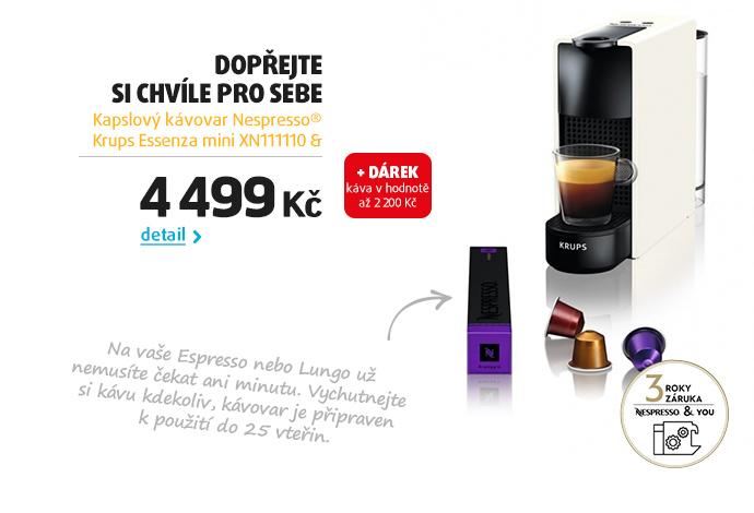 Kapslový kávovar Nespresso® Krups Essenza mini XN111110 & Aeroccino 3