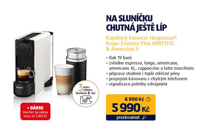 Kapslový kávovar Nespresso® Krups Essenza Plus XN511110 & Aeroccino 3